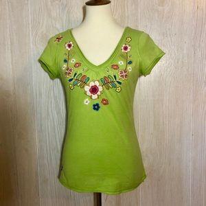 Johnny Was Green Embroidered Hinga Tee Shirt